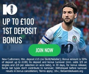 10Bet - 50% Up To £100