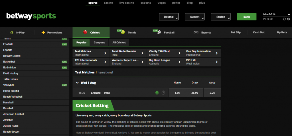 Cricket Betting Betway
