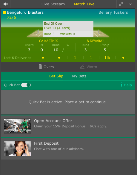Quick Bets Live Betting Cricket