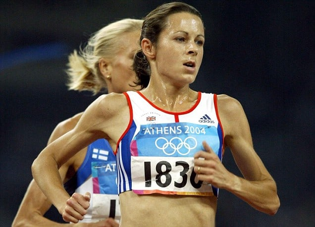 Great Britain's Jo Pavey from Teddington, Middlesex,  competes in her 5000m heat at the Olympic Stadium in Athens, Greece, Friday 20 August, 2004.  See PA story OLYMPICS Athletics.  PA Photo: David Davies